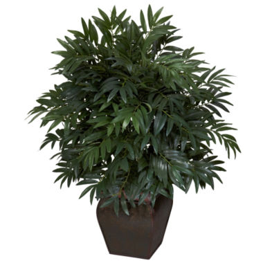 jcpenney.com | Nearly Natural Double Bamboo Palm With Decorative Planter Silk Plant