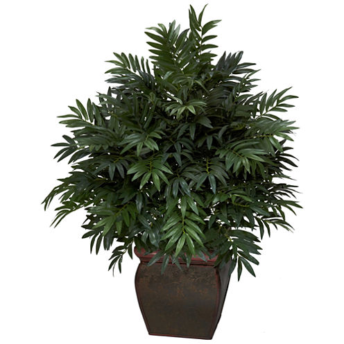 Nearly Natural Triple Bamboo Palm With Decorative Planter Silk Plant