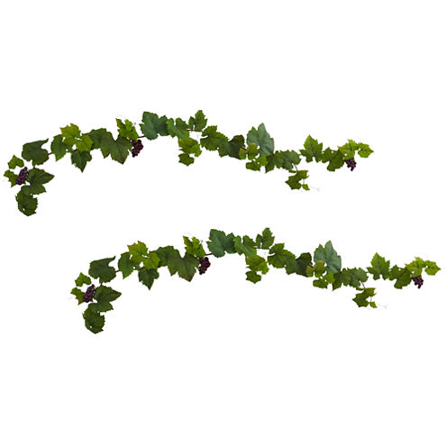 Nearly Natural 6-ft. Set of 2 Grape Leaf Deluxe Garland with Grapes