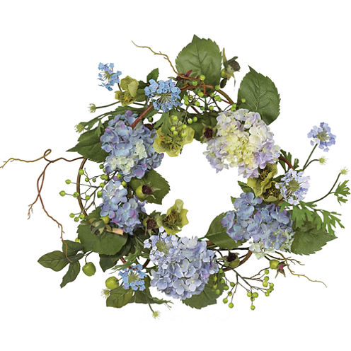 "Nearly Natural 20"" Hydrangea Wreath"