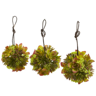 jcpenney.com | Nearly Natural 5 Mixed Succulent Hanging Ball SetOf 3