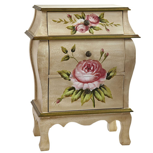 Nearly Natural Antique Night Stand With Floral Art