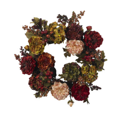 jcpenney.com | Nearly Natural 22 Autumn Hydrangea Peony Wreath
