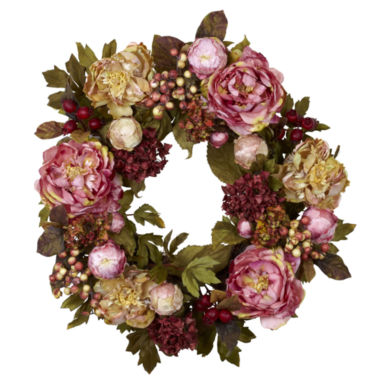 "jcpenney.com | Nearly Natural 24"" Peony Hydrangea Wreath"