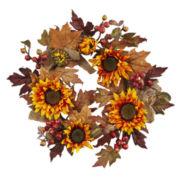 "24"" Sunflower & Berry Wreath"