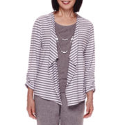 Alfred Dunner® Acadia 3/4-Sleeve Stripe Layered Top
