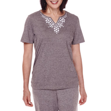 jcpenney.com | Alfred Dunner® Acadia Short-Sleeve Beaded-Yoke Top