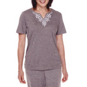 Alfred Dunner® Acadia Short-Sleeve Beaded-Yoke Top