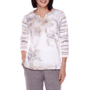 Alfred Dunner® Acadia 3/4-Sleeve Floral Top