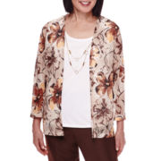 Alfred Dunner® 3/4-Sleeve Leaf-Print Layered Top with Necklace