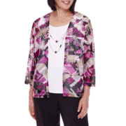 Alfred Dunner® 3/4-Sleeve Geometric-Print Layered Top with Necklace