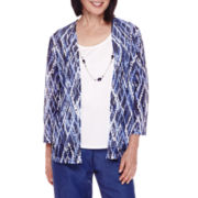 Alfred Dunner® 3/4-Sleeve Diamond-Print Layered Top with Necklace