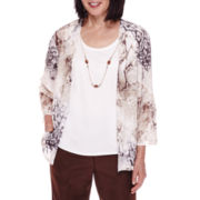 Alfred Dunner® 3/4-Sleeve Floral-Print Layered Top with Necklace