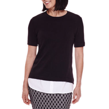 jcpenney.com | Sag Harbor® Short-Sleeve Modern Geo Layered Sweater