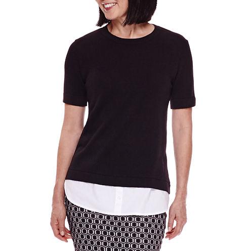 Sag Harbor® Short-Sleeve Modern Geo Layered Sweater