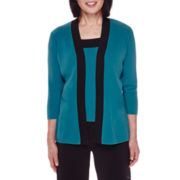Sag Harbor® Modern Geo 3/4-Sleeve Sweater Cardigan