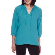 Sag Harbor® 3/4-Sleeve Modern Geo Smocked Blouse