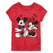 Disney Collection Short-Sleeve Mickey and Minnie Love Graphic Tee – Girls 7-16