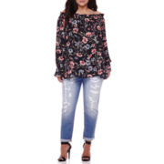 BELLE + SKY™ Off-Shoulder Blouse or Destructed Boyfriend Jeans