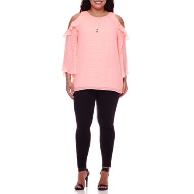 jcpenney.com | BELLE + SKY™ Long-Sleeve Cold-Shoulder Top or High-Waist Leggings - Plus