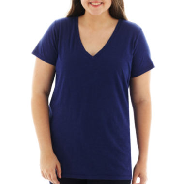 jcpenney.com | Arizona Short-Sleeve V-Neck T-Shirt - Juniors Plus