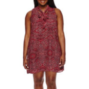 Decree® Tie-Neck Swing Dress - Juniors Plus