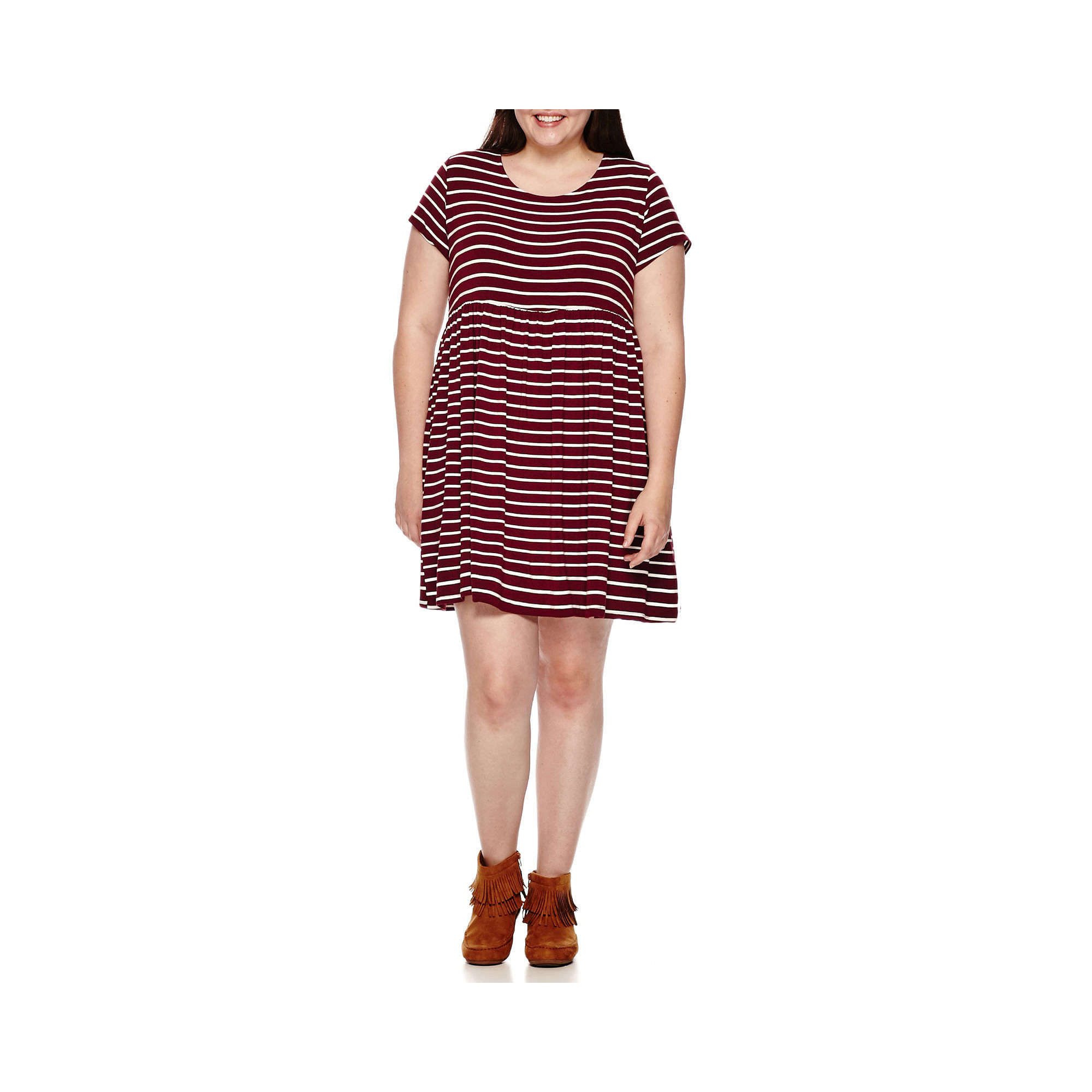 Arizona Short-Sleeve Babydoll Dress - Juniors Plus plus size,  plus size fashion plus size appare