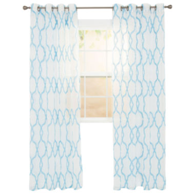 jcpenney.com | Cambridge Home Elisa Embroidered Grommet-Top Sheer Curtain Panel