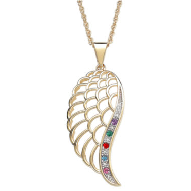 jcpenney.com | Personalized Family Birthstone Angel Wing Pendant Necklace