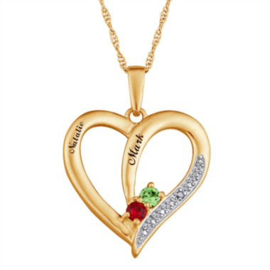 jcpenney.com | Personalized Diamond-Accent Couple's Name Birthstone Heart Pendant Necklace