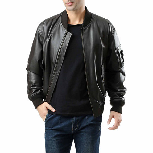 Ma 1 Pebbled Leather Leather Bomber Jacket Tall