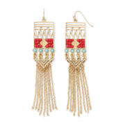 Gemma Simone™ Kobuki Samurai Warrior Coral and Aqua Stone Fringe Earrings