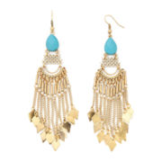 Gemma Simone™ Karma Sun Salutation Aqua Stone and Chain Fringe Earrings