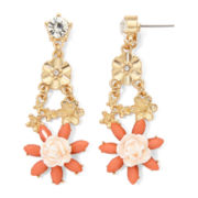 Gemma Simone™ Amaryllis Fresh Cut Peach Stone Floral Drop Earrings