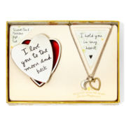 Messages from the Heart® by Sandra Magsamen® Heart and Moon Pendant Necklace & Trinket Box Gift Set