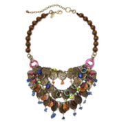 Aris by Treska Amalfi Coast Multicolor Bead 3-Row Statement Bib Necklace