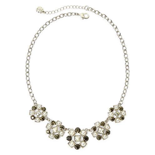 Monet® Multicolor Crystal Silver-Tone Frontal Collar Necklace