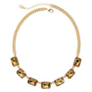 Monet® Light Brown Crystal Gold-Tone Collar Necklace