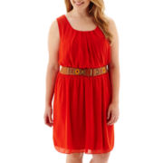 by&by Sleeveless Belted Chiffon Tank Dress - Plus