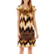 R&K Originals® Cap-Sleeve Knit Shift Dress