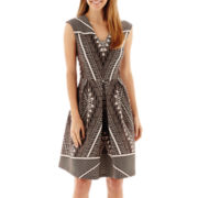 Studio 1® Sleeveless Aztec Print Fit-and-Flare Dress