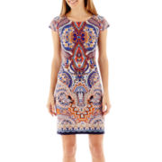 R&K Originals® Cap-Sleeve Print Shift Dress