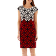 R&K Originals® Cap-Sleeve Print Shift Dress