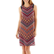 R&K Originals® Sleeveless Beaded Shoulder Print Shift Dress