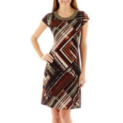 R&K Originals® Cap-Sleeve Print Trapeze Dress