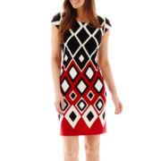 R&K Originals® Cap-Sleeve Geometric Print Shift Dress