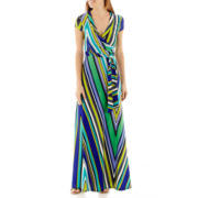 R&K Originals® Short-Sleeve Tie-Waist Striped Maxi Dress
