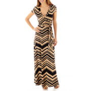 R&K Originals® Short-Sleeve Tie-Waist Chevron Print Maxi Dress