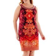 Studio 1® Sleeveless Beaded Scuba Sheath Dress - Plus