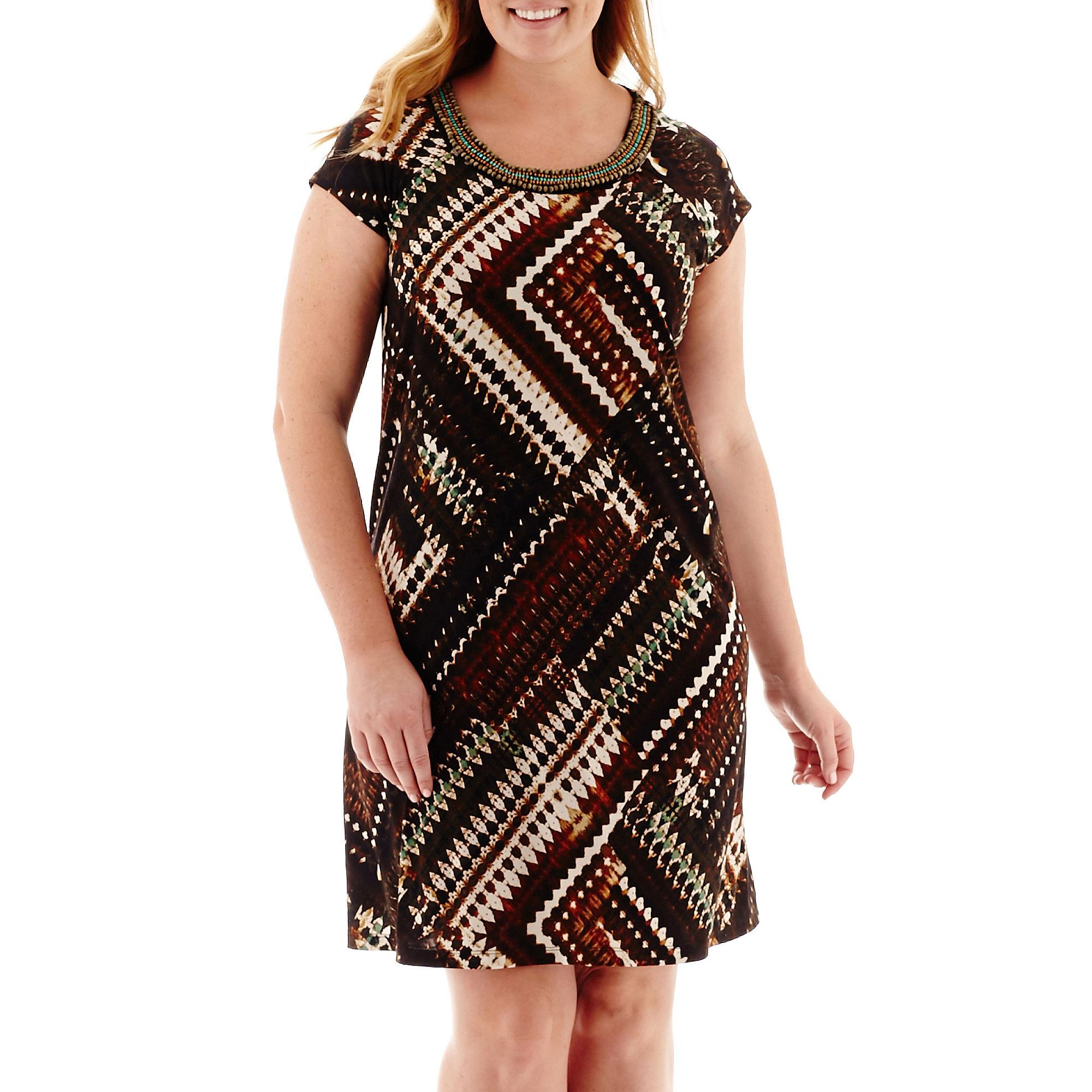R & K Originals Short-Sleeve Tribal Print Trapeze Dress - Plus